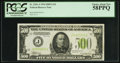 Fr. 2201-J $500 1934 Light Green Seal Federal Reserve Note. PCGS Choice About New 58PPQ