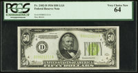 Fr. 2102-D $50 1934 Light Green Seal Federal Reserve Note. PCGS Very Choice New 64
