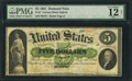 Large Size:Demand Notes, Fr. 3 $5 1861 Demand Note PMG Fine 12 Net.. ...