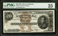 Large Size:Silver Certificates, Fr. 309 $20 1880 Silver Certificate PMG Very Fine 25.. ...