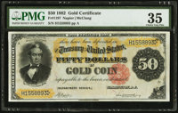 Fr. 1197 $50 1882 Gold Certificate PMG Choice Very Fine 35