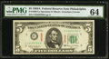 SPECIMEN with Ascending Ladder Serial Number C23456789A Fr. 1968-C $5 1963A Federal Reserve Note. PMG Choice Uncirculate...
