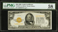 Small Size:Gold Certificates, Fr. 2404 $50 1928 Gold Certificate. PMG Choice About Unc 58.. ...