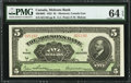 Canadian Currency: , Montreal, PQ- The Molsons Bank $5 Jul. 3, 1922 Ch. # 490-40-02.....