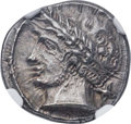 Ancients:Greek, Ancients: ETRURIA. Populonia. Ca. 300-250 BC. AR 10 asses (18mm,4.19 gm). NGC Choice AU ★ 4/5 - 5/5....