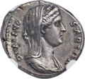 Ancients:Roman Imperial, Ancients: Diva Sabina, wife of Hadrian (died AD 136/7). AR denarius (19mm, 3.62 gm, 5h). NGC Choice XF 5/5 - 4/5, Fine Style....