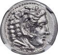 Ancients:Greek, Ancients: MACEDONIAN KINGDOM. Alexander III the Great (336-323 BC).AR drachm (17mm, 4.31 gm, 2h). NGC Choice MS 5/5 - 4/5, FineStyle....