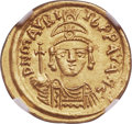 Ancients:Byzantine, Ancients: Maurice Tiberius (AD 582-602). AV solidus (20mm, 4.46 gm,6h). NGC MS 5/5 - 4/5....