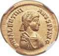 Ancients:Roman Imperial, Ancients: Valentinian II (AD 375-392). AV solidus (21mm, 4.44 gm,11h). NGC Choice AU 5/5 - 5/5....