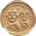 Ancients:Byzantine, Ancients: Heraclius (AD 610-641), with Heraclius Constantine (AD613-641). AV solidus (21mm, 4.52 gm, 6h). ...