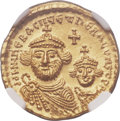 Ancients:Byzantine, Ancients: Heraclius (AD 610-641), with Heraclius Constantine. AVsolidus (21mm, 4.36 gm, 6h). NGC MS ★ 5/5 ...