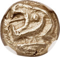 Ancients:Greek, Ancients: IONIA. Uncertain city. Ca. 600-550 BC. EL sixth stater orhecte (10mm, 2.23 gm). NGC Choice AU 5/5 - 4/5....