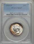 Washington Quarters, 1964-D 25C MS67 PCGS. PCGS Population: (58/0). NGC Census: (69/0). Mintage 704,135,552. ...