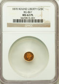 California Fractional Gold: , 1870 25C Goofy Head Round 25 Cents, BG-867, R.4, MS62 ProoflikeNGC. NGC Census: (3/5). ...