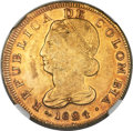 Colombia, Colombia: Republic gold 8 Escudos 1824 POPAYAN-FM XF45 NGC,...