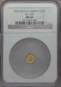 California Fractional Gold , 1870 25C Goofy Head Octagonal 25 Cents, BG-789, R.4, MS66 NGC....