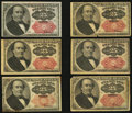 Fractional Currency:Fifth Issue, Fr. 1308/09 25¢ Fifth Issue Six Examples Fine or Better.. ...(Total: 6 notes)