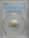 California Fractional Gold , 1866 25C Liberty Round 25 Cents, BG-804, R.4, MS66+ PCGS....