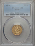 Classic Quarter Eagles, 1836 $2 1/2 Block 8 AU55 PCGS. Breen-6142, Variety 8, R.3....