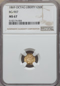 California Fractional Gold , 1869 50C Liberty Octagonal 50 Cents, BG-907, Low R.5, MS67 NGC....