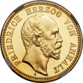German States:Anhalt-Dessau, German States: Anhalt-Dessau. Friedrich I gold Proof 10 Mark 1896-APR66 Ultra Cameo NGC,...