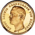 German States:Hesse-Darmstadt, German States: Hesse-Darmstadt. Ernst Ludwig gold Proof 10 Mark 1893-A PR64 Ultra Cameo NGC,...