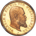 German States, German States: Württemberg. Wilhelm II gold Proof 10 Mark 1913-FPR66 Ultra Cameo NGC,...