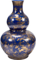 Asian:Chinese, A Large Chinese Gilt Decorated Cobalt Blue Double Gourd Vase, QingDynasty, 19th century. Marks: Six-character Qianlong mark...