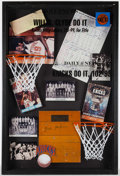 Basketball Collectibles:Others, 1970's New York Knicks Custom Framed Display Piece - Red HolzmanSigned Championship Court. ...