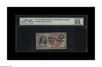 """Fr. 1268 15c Fourth Issue PMG About Uncirculated 55. PMG has notes on the holder, """"Vivid Details."""" This is the..."""