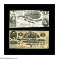 Confederate Notes:1862 Issues, T43 $2 1862. Fine. T44 $1 1862 CU.. A few pinholes are spotted onthe Second Series T43, while the T44 has a top edge th... (Total: 2notes)