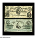 Confederate Notes:1862 Issues, T49 $100 1862 Fine. T50 $50 1862 Fine-VF, CC.. The Lucy PickensC-note displays an approximate half inch left edge tear ... (Total:2 notes)