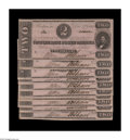 Confederate Notes:1862 Issues, T54 $2 1862 Ten Examples. This closely serial numbered Choice AboutUncirculated grouping displays just a touch of handl... (Total: 10notes)
