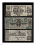 Confederate Notes:Group Lots, Three Confederate Notes including T20 $20 1861 VF, CC; T33 $5 1861Fine, CC; and T60 $5 1863 XF, once mounted.... (Total: 3 notes)