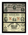 Confederate Notes:Group Lots, Three CSA Notes.. T13 $100 1861 XF, small edge tear. T26 $10 1861Fine-VF. CT65/491 $100 1864 Choice CU.. The CT... (Total: 3 notes)