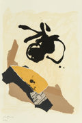 Prints, Robert Motherwell (1915-1991). Untitled, from Galería Joan Prats, 1986. Lithograph and collage on wove paper. 22 x 1...