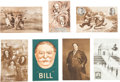 Political:Small Paper (pre-1896), Harrison & Reid et al: Jugate Trade Card and Postcards....(Total: 7 Items)
