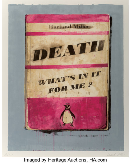 Harland Miller (b. 1964)Death, What's In It For Me?, 2011Screenprint in colors on Somerset paper37-3/4 x 26 inches...