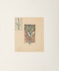 Prints:Contemporary, Claes Oldenburg (b. 1929). Postcard of the Spoon on Isle St.Louis, with needles, 1979. Etching and aquatint in colors o...