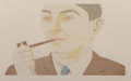 Prints:Contemporary, Alex Katz (b. 1927). Man with Pipe, 1984. Etching andaquatint in colors on Rives BFK paper. 10 x 16 inches (25.4 x40.6...