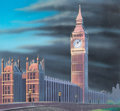 "Animation Art:Painted cel background, Iron Man ""Big Ben"" Background Color Key (Marvel Films,1995)...."