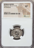 Ancients:Roman Imperial, Ancients: Macrinus (AD 217-218). AR denarius. NGC XF....