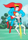 Animation Art:Production Cel, Superman/Aquaman Hour of Adventure Superman Production Cel and Master Background (Filmation, 1967).... (Total: 2 )