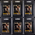 Basketball Cards:Lots, John Wooden Signed Oversized Cards Lot of 6. ...
