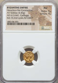 Ancients:Byzantine, Ancients: Heraclius & Heraclius Constantine (AD 613-641). AVsolidus (4.45 gm). NGC AU 5/5 - 4/5....