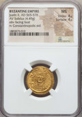 Ancients:Byzantine, Ancients: Justin II (AD 565-578). AV solidus (4.49 gm). NGC MS 4/5- 4/5....
