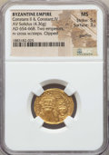 Ancients:Byzantine, Ancients: Constans II & Constantine IV (AD 654-668). AV solidus(4.36 gm). NGC MS 5/5 - 3/5, graffito....