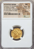 Ancients:Byzantine, Ancients: Constans II & Constantine IV (654-668). AV solidus (4.38 gm). NGC MS 4/5 - 4/5, clipped. ...