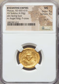 Ancients:Byzantine, Ancients: Phocas (AD 602-610). AV solidus (4.50 gm). NGC MS 5/5 -4/5, scuff....