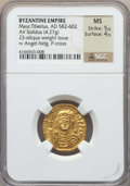 Ancients:Byzantine, Ancients: Maurice Tiberius (AD 582-602). AV light-weight solidus(4.27 gm). NGC MS 5/5 - 4/5....